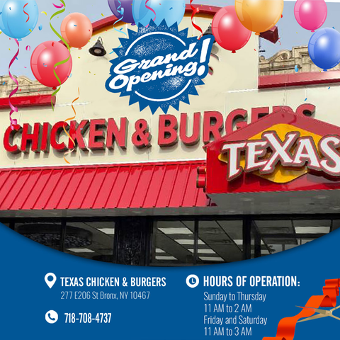 New Texas Chicken & Burgers Location at at 277 East 206th Street, the Bronx, NY 10467